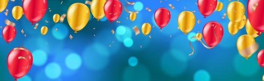 celebrazione palloni dorati e rossi lucidi con il fondo blu scuro di festa con bokeh brillante variopinto e la serpentina illustrazione di stock