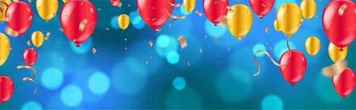 celebrazione palloni dorati e rossi lucidi con il fondo blu scuro di festa con bokeh brillante variopinto e la serpentina royalty illustrazione gratis