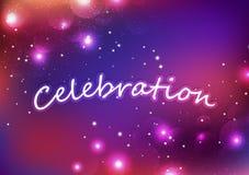 Celebrazione, stelle di Bokeh, fuochi d'artificio d'ardore di fantasia, vettore festivo d'esplosione leggero del fondo dell'estra royalty illustrazione gratis