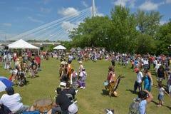 Celebrazione in tensione di giorno aborigeno in Winnipeg Fotografia Stock Libera da Diritti