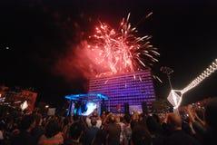 Celebrazioni del fuoco d'artificio fotografie stock