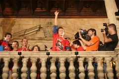 Celebrazioni di Jorge Lorenzo in dettaglio di palma Fotografia Stock Libera da Diritti
