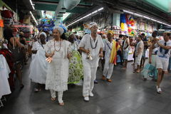 Celebrazioni di Yemanja alla spiaggia di Copacabana Fotografie Stock Libere da Diritti
