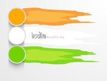 Celebrazioni indiane felici di giorno della Repubblica con pittura in tricolors Fotografia Stock Libera da Diritti
