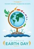 Celebre diseño de la plantilla del logotipo y del cartel del Día de la Tierra stock de ilustración