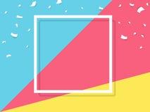 Celebre el diseño festivo de la celebración de días festivos con confeti, y el marco del cuadrado en fondo multicolor ilustración del vector
