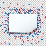 Celebre el diseño festivo de la celebración de días festivos con confeti y fondo transparente del marco del cuadrado de la burbuj libre illustration