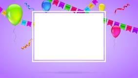 Celebre el fondo colorido con volar los globos coloridos en fondo coloreado Plantilla para los saludos o el cumpleaños stock de ilustración