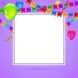 Celebre el fondo colorido con volar los globos coloridos en fondo coloreado Plantilla para los saludos o el cumpleaños ilustración del vector