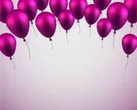 Celebre el fondo con los globos púrpuras stock de ilustración