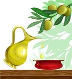 Celebre el fondo de hanukkah con petróleo y aceituna
