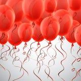 Celebre el fondo rojo con los globos ilustración del vector