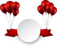 Celebre el fondo rojo de la cinta con los globos stock de ilustración