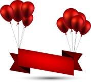Celebre el fondo rojo de la cinta con los globos libre illustration