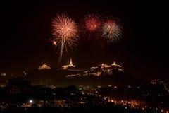 Celebre el fuego artificial en cielo nocturno Imagen de archivo