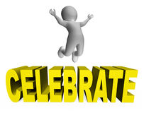 Celebre el partido de la celebración de los medios del carácter y la representación de la diversión 3d stock de ilustración