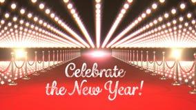 Celebre el texto del Año Nuevo con las luces que destellan y la alfombra roja almacen de metraje de vídeo
