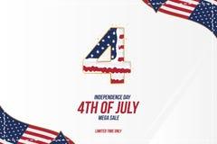 Celebre feliz el 4 de julio - D?a de la Independencia Tarjeta de felicitaci?n con la bandera de los E.E.U.U. Evento americano nac ilustración del vector