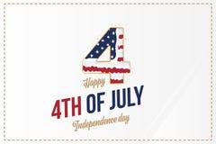 Celebre feliz el 4 de julio - D?a de la Independencia Tarjeta de felicitaci?n con la bandera de los E.E.U.U. Evento americano nac libre illustration