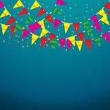 Celebre la bandera Banderas del partido con confeti ilustración del vector