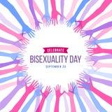 Celebre la bandera del día del Bisexuality con diseño azul, púrpura y rosado abstracto del vector del marco de la mano libre illustration
