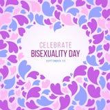 Celebre la bandera del día del Bisexuality con el marco abstracto del corazón y el diseño azules, púrpuras y rosados del vector d stock de ilustración