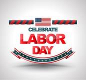 Celebre la bandera del Día del Trabajo libre illustration