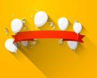 Celebre la bandera roja con los globos stock de ilustración