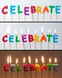 Celebre las velas Foto de archivo libre de regalías