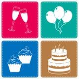 Celebre los iconos representa los partidos Joy And Cheerful Foto de archivo libre de regalías