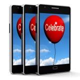 Celebre los partidos y las celebraciones de los eventos de los medios del globo stock de ilustración
