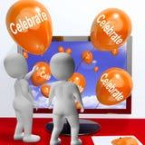 Celebre los partidos y las celebraciones del medio de los globos en línea stock de ilustración