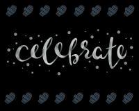 celebre Palabra hermosa del texto de la plata de la caligrafía de la tarjeta de felicitación Vector Fotos de archivo