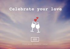 Celebre su concepto de la datación de los pares del amor ilustración del vector