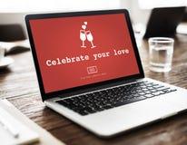 Celebre su concepto de Valentine Romance Love Toast Dating del amor imagen de archivo libre de regalías