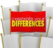 Celebre sus diferencias que una bandera única se destaca Prid único ilustración del vector