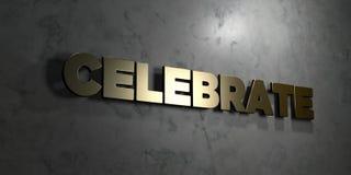 Celebre - texto del oro en fondo negro - la imagen común libre rendida 3D de los derechos libre illustration