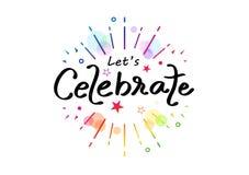 Celebri, calligrafia variopinta del nastro dell'arcobaleno, illustrazione divertente di vettore del partito di festival della dec illustrazione di stock
