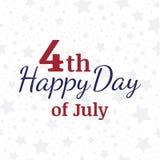 Celebri felice il il quarto luglio - festa dell'indipendenza Insegna di congratulazioni con la combinazione di fonti Illustrazion Immagine Stock Libera da Diritti