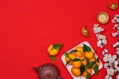 Celebri il fondo cinese del nuovo anno con frutta arancio per le guerre Fotografia Stock Libera da Diritti