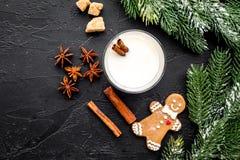 Celebri la sera dell'inverno del nuovo anno con la bevanda dello zabaione in vetri biscotto del pane dello zenzero, ramo attillat Fotografia Stock