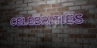 CELEBRIDADES - Señal de neón que brilla intensamente en la pared de la cantería - 3D rindió el ejemplo común libre de los derecho libre illustration