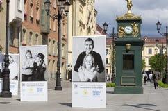 Celebridades y niños con Síndrome de Down en los carteles Fotografía de archivo libre de regalías