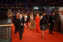 Celebrities arriving at Berlinale Palast during the 68th Berlinale Festival. Berlin, Germany - February 24, 2018: Julia Zange, Monika Szumowska and other Stock Image