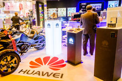 Celebrities attend Hugo Boss Man of Today cocktail party in Madrid, Spain. The Huawei watch display on the Ayserco stand. The Chinese electronics group, Huawei royalty free stock photography