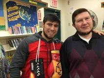 Celebrities: Boxer Bakhtyar Eyubov and Author Michael Salita Royalty Free Stock Photo
