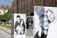 Celebrities and children with down syndrome on the posters. St. Petersburg, Russia - July 23, 2017: Posters with a charity project to help children with Down`s Royalty Free Stock Photos