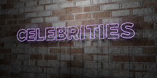CELEBRITIES - Glowing Neon Sign on stonework wall - 3D rendered royalty free stock illustration. Can be used for online banner ads and direct mailers Stock Photos