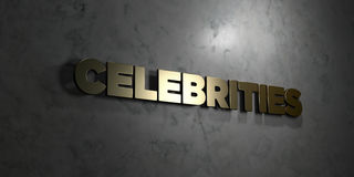 Celebrities - Gold text on black background - 3D rendered royalty free stock picture. This image can be used for an online website banner ad or a print Stock Images