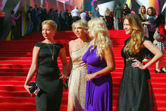 Celebrities at Moscow Film Festival. Celebrities at XXXV Moscow International Film Festival red carpet opening ceremony. First at left - tv-presenter Daria Stock Photography